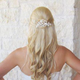 Peigne cheveux étoles de mer, perles et cristal