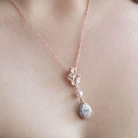 Collier rose gold mariage, parure bijoux mariée
