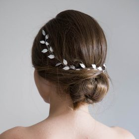 Bijou cheveux mariage, vigne souple champêtre feuilles Niki