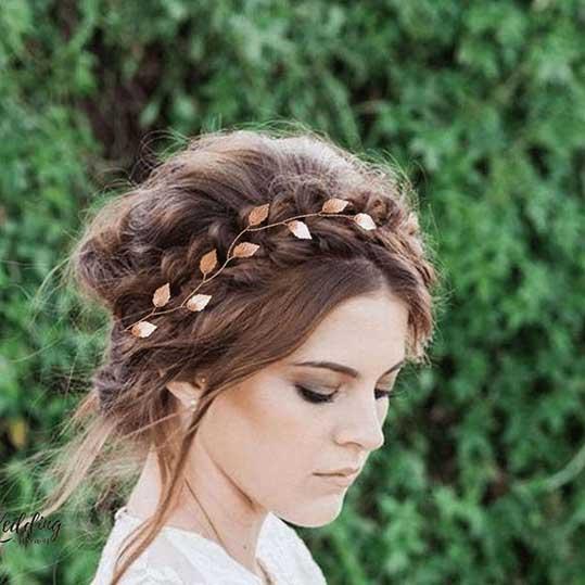 Bijou cheveux mariage vigne souple champêtre feuilles Niki