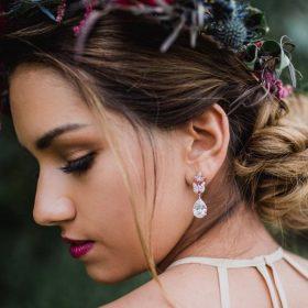 Boucles d'oreilles mariée dorés pendantes 4