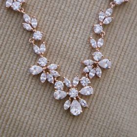 Collier mariage Oxydes de Zircon Rose gold, or rose
