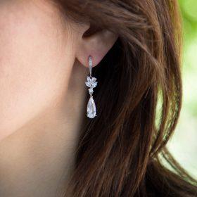 Boucles d'oreilles pour mariée pendantes zircon
