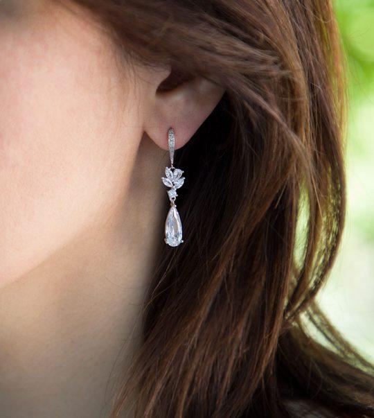 """Boucles d'oreilles pour mariée pendantes zircon """"Stephanie"""""""