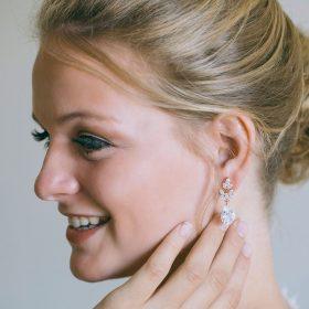 Boucles d'oreilles mariée dorés pendantes