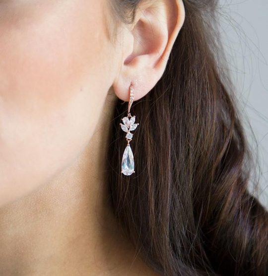 Boucles d'oreilles pour mariée pendantes cristal