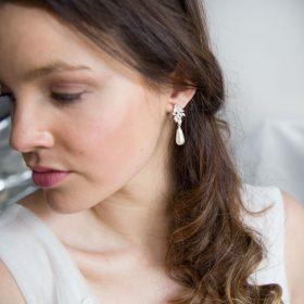 Boucles d'oreilles mariée pendantes perles et Zircon argentées 3