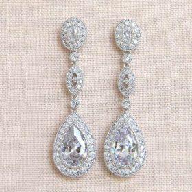 Boucles d'oreilles de mariée longues goutte cristaux zircone