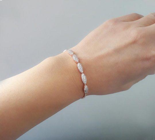 Bracelet pour mariée argenté fin et élégant Colette