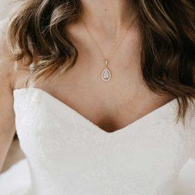 Collier mariage goutte cristaux zircon 3