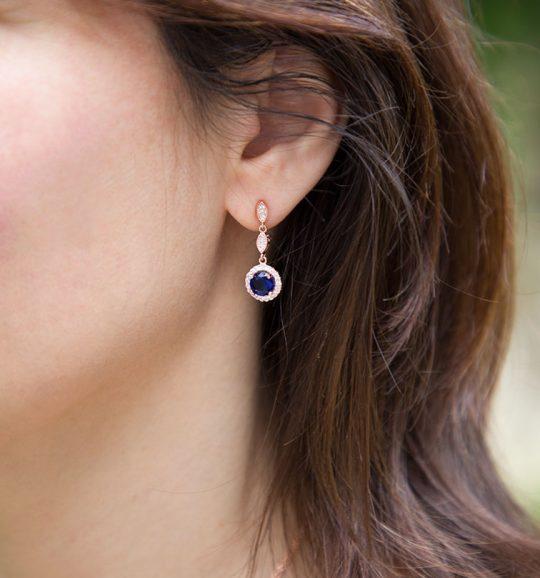 Boucles d'oreilles pour mariée rose gold bleu saphire