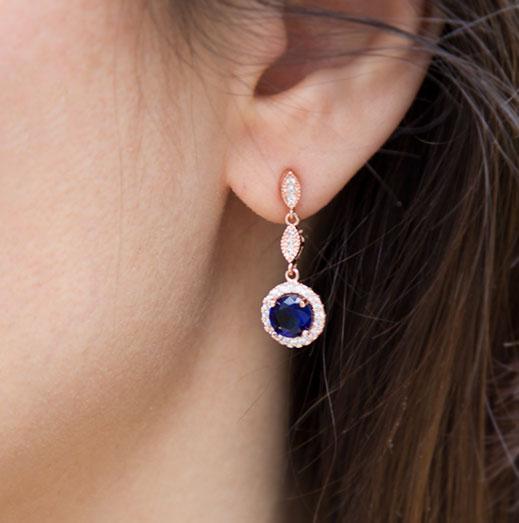 Boucles d'oreilles pour mariée rose gold bleu