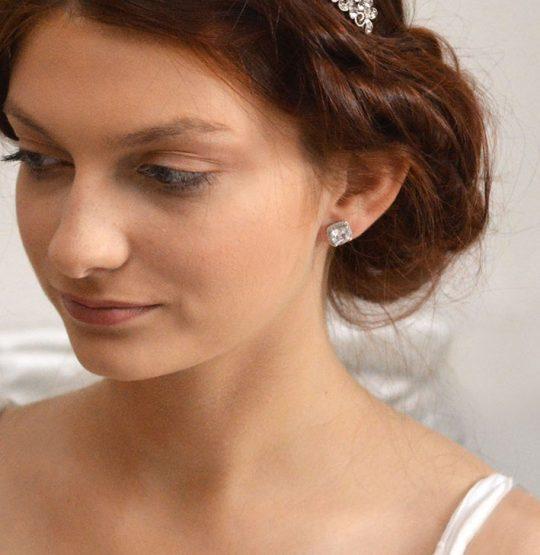 boucles d'oreilles mariage clous carrées