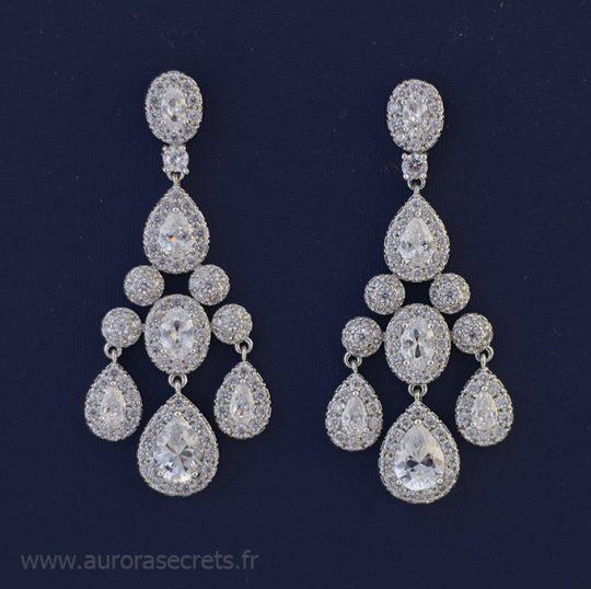 boucles d'oreilles mariée chandelier cristal Zircon