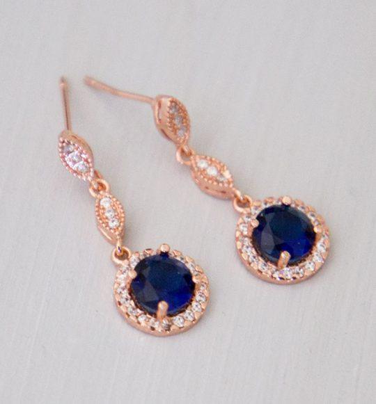 Boucles d'oreilles pour mariée or rose bleu saphire