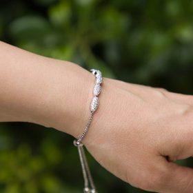 Bracelet pour mariée argenté fin et élégant 2