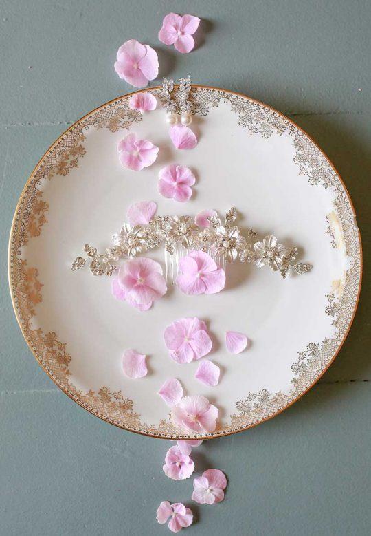Accessoire cheveux mariage peigne fleurs en métal « Louise »