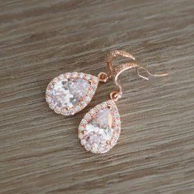 Boucles d'oreilles pour mariée doré rose