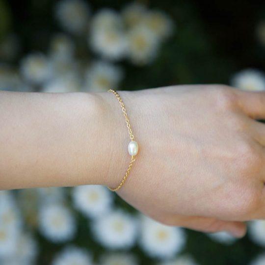 Bracelet fin perles pour mariage argenté ou doré 2