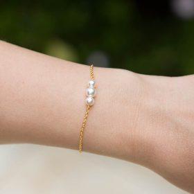 Bracelet fin perles pour mariage argenté ou doré