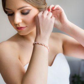 Bracelet pour mariée doré rose chic cristal Zircon Lyra