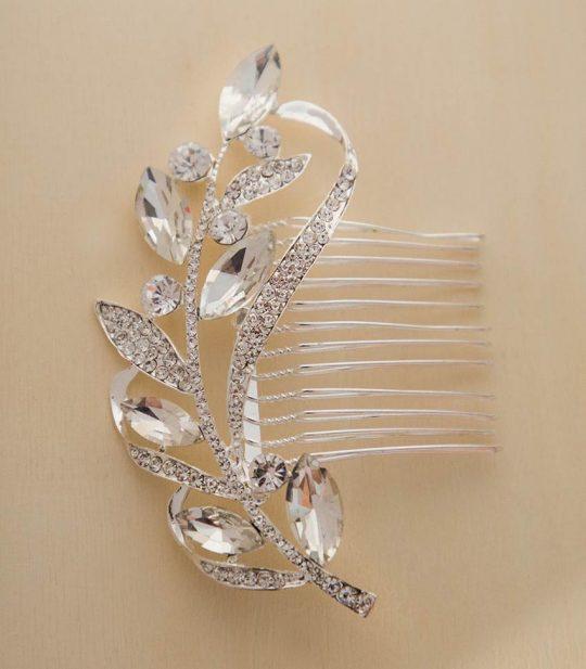 Broche cheveux mariage bohème feuilles cristal 2