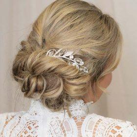 Broche de cheveux bohème argentée feuilles cristal Angelina