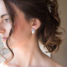 Boucles d'oreilles mariée perle nacrée strass 2