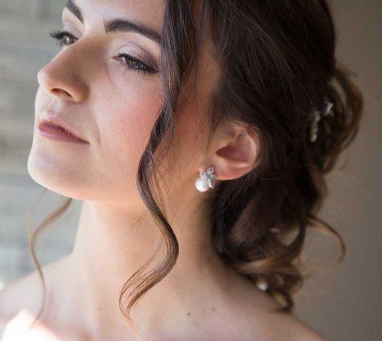 Boucles d'oreilles mariée perle nacrée strass 3