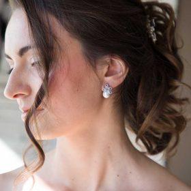 Boucles d'oreilles mariée perle nacrée strass 4