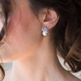 Boucles d'oreilles mariée perle nacrée strass 5