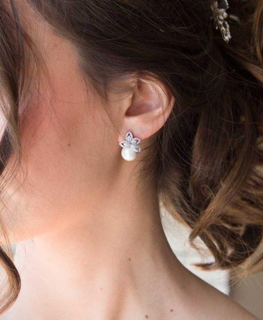 Boucles d'oreilles mariée perle nacrée strass