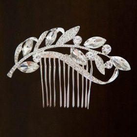 Broche cheveux mariage bohème feuilles cristal