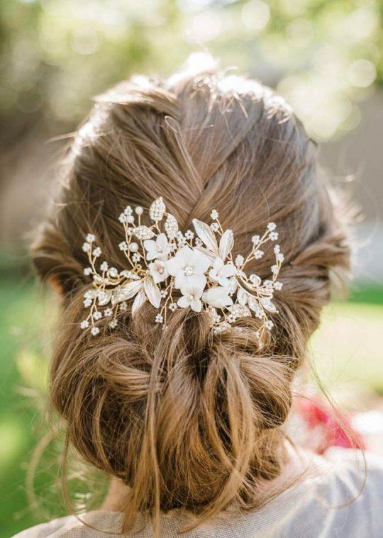 Bijou de cheveux mariage bohème perles fleurs Lola