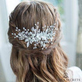 Bijou de cheveux mariage fleurs feuilles