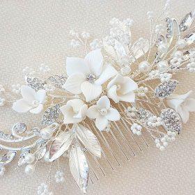 Bijou de cheveux mariage fleurs feuilles perles cristaux