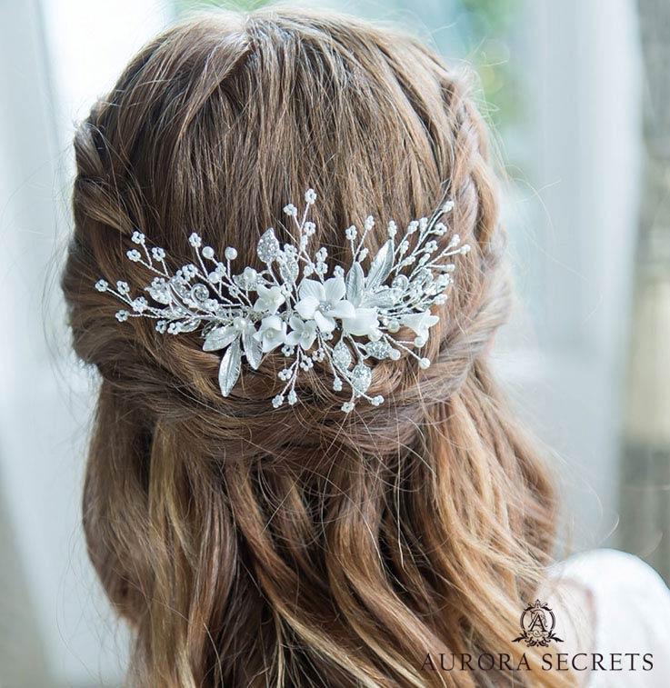 "bijou de cheveux mariage bohème perles fleurs ""lola"""