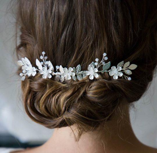 accessoire cheveux mariage bohème fleurs feuilles 2