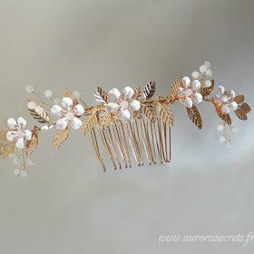 accessoire cheveux mariage boheme fleurs feuilles