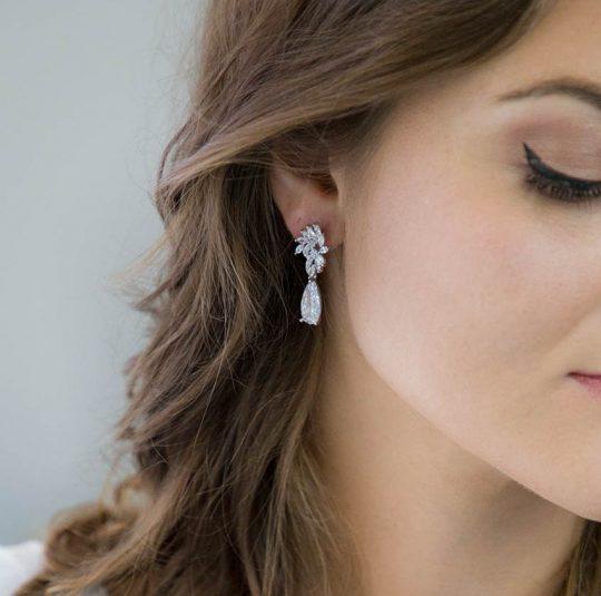 boucles d'oreilles strass mariée 2