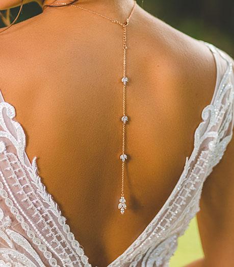 "Collier de mariée avec bijou robe dos nu doré rose ""Colline"" 2"