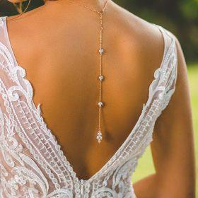 "Collier de mariée avec bijou robe dos nu doré rose ""Colline"""