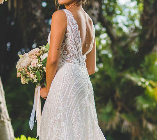 "Collier de mariée avec bijou robe dos nu doré rose ""Colline"" 7"