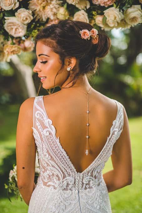 "Collier de mariée avec bijou robe dos nu doré rose ""Colline"" 8"