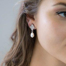 Parure bijoux mariage perle strass 5