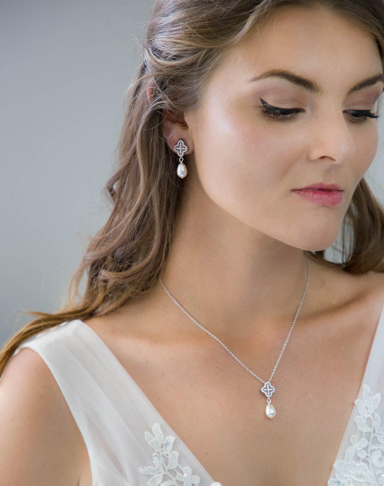 Parure bijoux mariage perle Swarovski strass