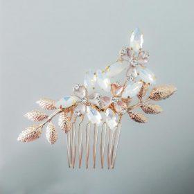 Bijou cheveux mariage, peigne fleurs feuilles cristal Éléonore