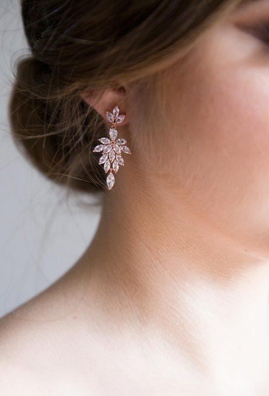 Boucles d'oreilles mariée élégantes en cristal Swarovski rose gold