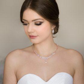 Parure bijoux mariée élégante rose gold en cristal zircon Allison