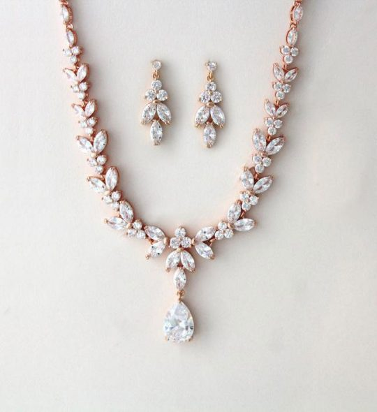 Parure bijoux mariée élégante rose gold en cristal zircon Cécilia